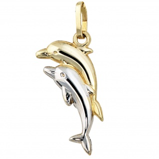 Kinder Anhänger Delfin Delfine 333 Gold bicolor Kinderanhänger Delfinanhänger