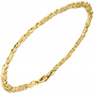 Armband 585 Gold Gelbgold teil matt 21 cm Goldarmband