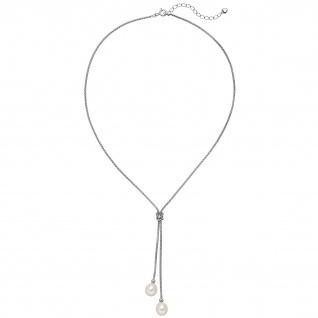 Collier Kette Halskette 925 Silber mit 2 Süßwasser Perlen 43 cm