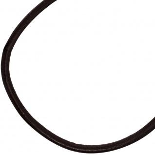 Leder Halskette Kette Schnur schwarz 70 cm, Karabiner 925 Sterling Silber - Vorschau 3
