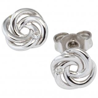 Schmuck-Set Knoten 585 Gold Weißgold 3 Diamanten Ohrringe und Kette 42 cm - Vorschau 3