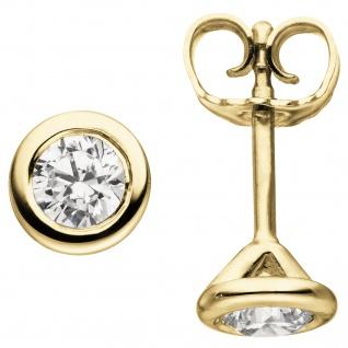 Ohrstecker rund 585 Gold Gelbgold 2 Diamanten Brillanten 0, 74 ct. Ohrringe