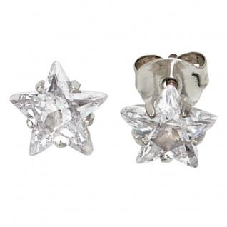 Ohrstecker Stern Sterne 925 Sterling Silber rhodiniert 2 Zirkonia Ohrringe
