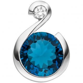 Anhänger 585 Gold Weißgold 1 Diamant Brillant 1 Blautopas hellblau blau