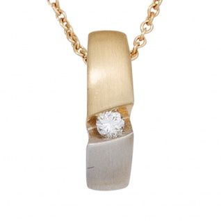 Kette mit Anhänger 585 Gold Gelbgold bicolor 1 Diamant Brillant 43 cm Halskette