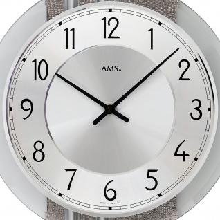 AMS 9412 Wanduhr Quarz analog silbern modern mit Aluminium und Kunstleder - Vorschau 2