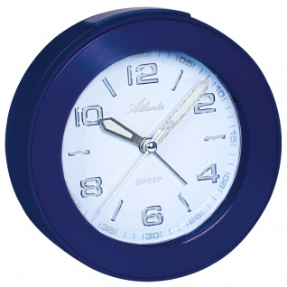 Atlanta 1968/5 Wecker Quarz analog blau leise ohne Ticken mit Licht Snooze
