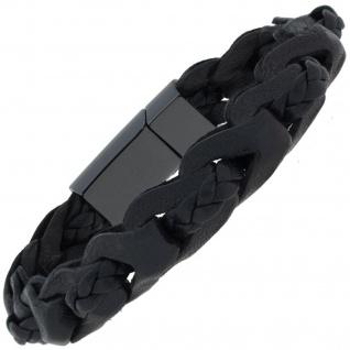 Armband 2-reihig Leder mit Keramik schwarz geflochten 21 cm