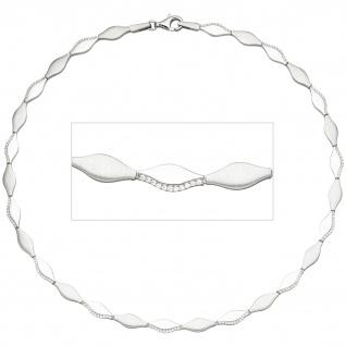 Collier Halskette 925 Silber teil matt 154 Zirkonia 45 cm Kette Silberkette
