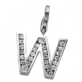 Einhänger Charm Buchstabe W 925 Sterling Silber mit Zirkonia