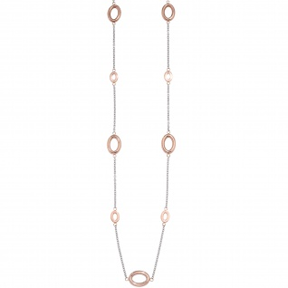 Collier / Halskette aus Edelstahl rotgold farben beschichtet bicolor 90 cm Kette