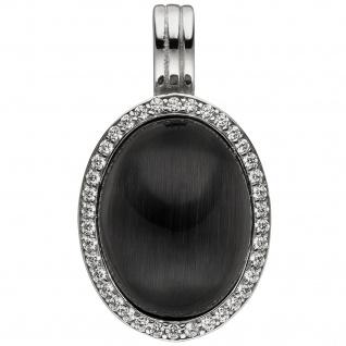 Anhänger Einhänger Oval 925 Sterling Silber Mondstein-Imitation und 38 Zirkonia