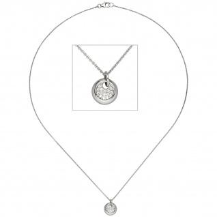 Collier Kette mit Anhänger 585 Gold Weißgold 15 Diamanten Brillanten 43 cm