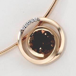 Anhänger 585 Gold Rotgold 5 Diamanten Brillanten 0, 035ct. 1 Rauchquarz braun - Vorschau 4