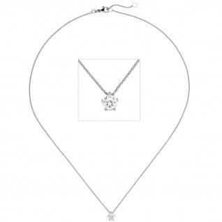 Collier Kette mit Anhänger 585 Gold Weißgold 1 Diamant Brillant 0, 70 ct. 45 cm