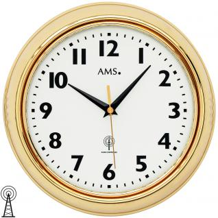AMS 5964 Wanduhr Funk Funkwanduhr analog messingfarben golden rund mit Glas