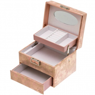 Davidt's Schmuckkoffer Schmuckkasten rosa Schloss Spiegel abschließbar