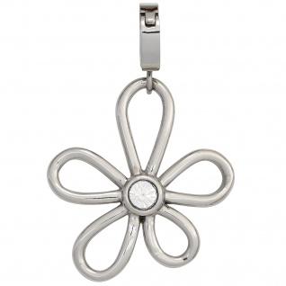 Einhänger Charm Blume aus Edelstahl mit SWAROVSKI® ELEMENT