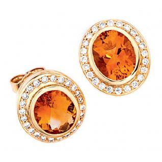 Ohrstecker oval 585 Gold Gelbgold 48 Diamanten 2 Citrine orange Ohrringe