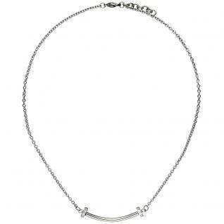 Collier Halskette aus Edelstahl mit 6 Zirkonia 45 cm Kette