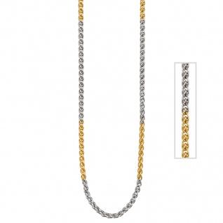 Zopfkette 585 Gelbgold Weißgold bicolor 2, 2 mm 42 cm Gold Kette Goldkette - Vorschau 3