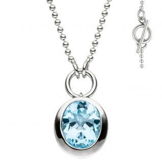Collier Halskette 925 Silber Anhänger mit 1 Blautopas hellblau blau 45 cm Kette