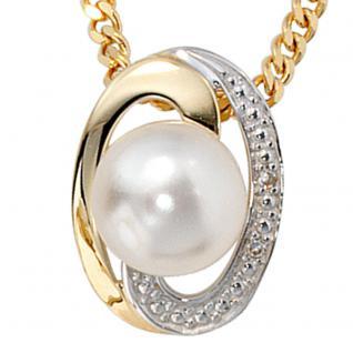 Anhänger 585 Gold Gelbgold bicolor 1 Süßwasser Perle 2 Diamanten Perlenanhänger - Vorschau 2
