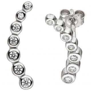 Ohrstecker 925 Sterling Silber 14 Zirkonia Ohrringe Silberohrringe