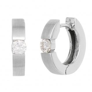 Creolen rund 585 Gold Weißgold mattiert 2 Diamanten Brillanten 0, 15ct. Ohrringe