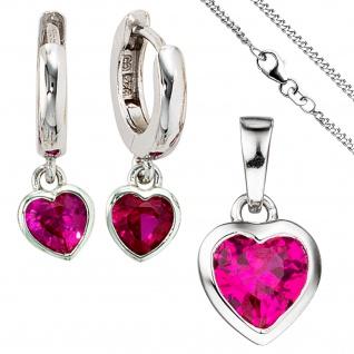 Kinder Mädchen Schmuck-Set Herz pink rosa 925 Silber Zirkonia mit Kette 42 cm