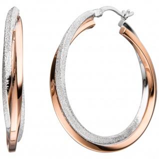 Creolen 925 Sterling Silber bicolor vergoldet mit Struktur Ohrringe