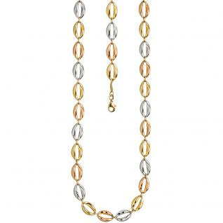 Halskette Kette 585 Gold dreifarbig tricolor 45 cm Goldkette Karabiner - Vorschau 2