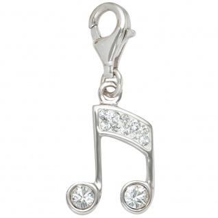 Einhänger Charm Musik Noten 925 Sterling Silber mit SWAROVSKI® ELEMENTS