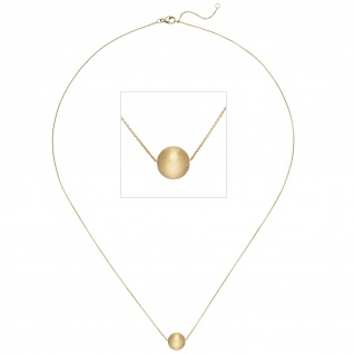 Collier Kette mit Anhänger Kugel 750 Gold Gelbgold matt 45 cm Halskette