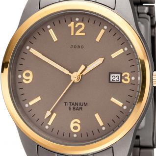 JOBO Herren Armbanduhr Quarz Analog Titan bicolor vergoldet Herrenuhr mit Datum - Vorschau 2