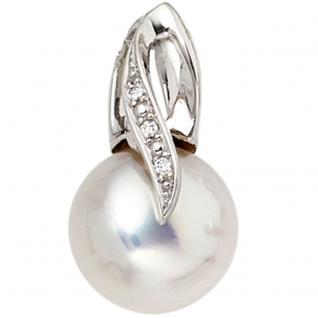 Anhänger 585 Gold Weißgold 1 Süßwasser Perle 3 Diamanten Perlenanhänger