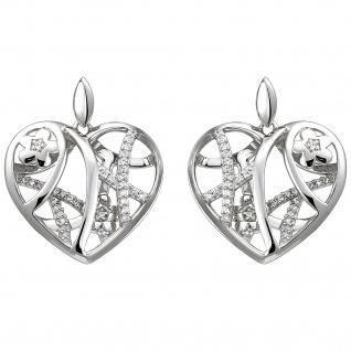 Ohrhänger Herz/Blumen 925 Sterling Silber 70 Zirkonia Ohrringe