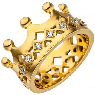 Damen Ring Krone Edelstahl gold farben beschichtet mit SWAROVSKI® ELEMENTS