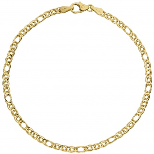 Zwillings-Panzerarmband 585 Gelbgold 19 cm Gold Armband Goldarmband - Vorschau 2