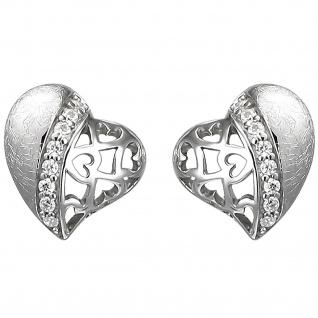 Ohrstecker Herz 925 Sterling Silber eismatt 16 Zirkonia Ohrringe Silberohrringe