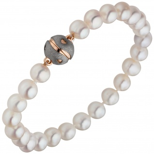 Armband Süßwasser Perlen mit 925 Silber rotgold vergoldet Perlenarmband weiß