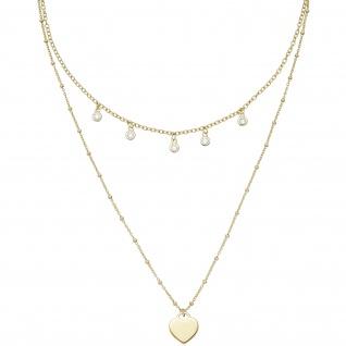 Collier gold vergoldet 925 Silber 5 Zirkonia 43 cm Silberkette Karabiner