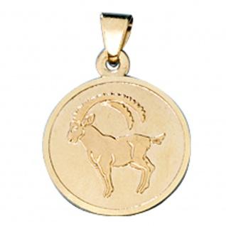 Anhänger Sternzeichen Steinbock 333 Gold Gelbgold matt Sternzeichenanhänger - Vorschau 1
