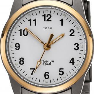 JOBO Damen Armbanduhr Quarz Analog Titan bicolor vergoldet Damenuhr - Vorschau 2