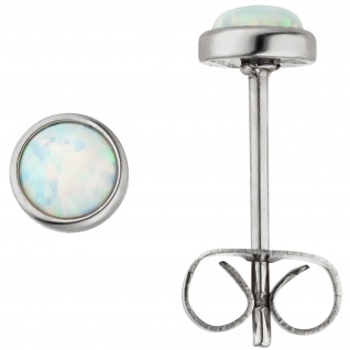 Ohrstecker Edelstahl 2 synthetische Opale 5 mm