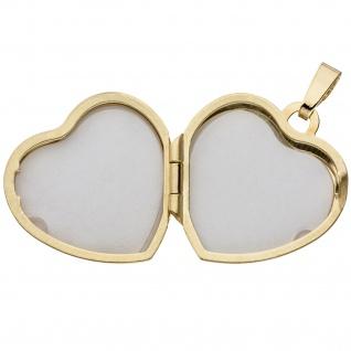Medaillon Herz Anhänger zum Öffnen für 2 Fotos 333 Gold mit Kette 50 cm - Vorschau 5