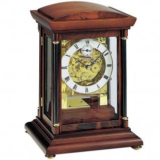 AMS 2187/1 Tischuhr mechanisch Holz nussbaum farben mit Glas