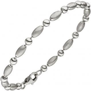 Armband 925 Sterling Silber teil matt 19 cm Silberarmband