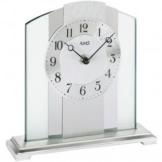 AMS 1120 Tischuhr Quarz silbern Metall mit Aluminium Chrom und Glas