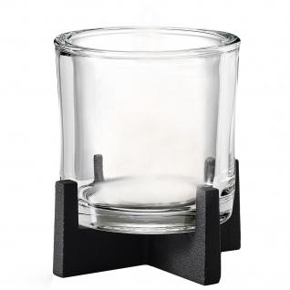 Blomus Windlicht NERO Stahl pulverbeschichtet mit Glas kombiniert